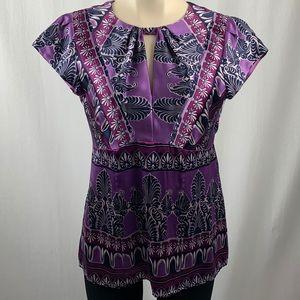 Nanette Lepore Silk Purple Paisley Art Deco Top 10